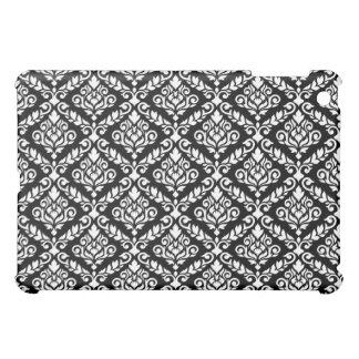 Prima Damask Horizontal Ptn White on Black iPad Mini Cover
