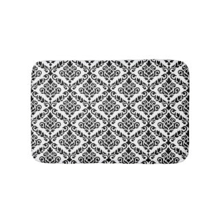 Prima Damask Pattern Black on White Bath Mat