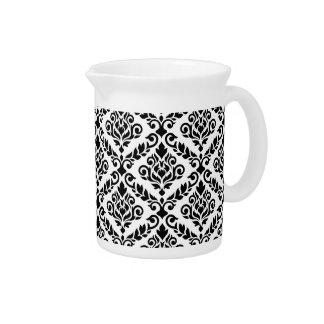 Prima Damask Pattern Black on White Beverage Pitcher