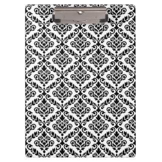 Prima Damask Pattern Black on White Clipboard