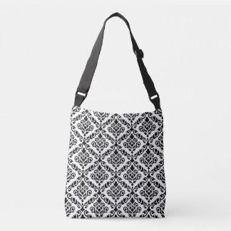 Prima Damask Pattern Black on White Crossbody Bag