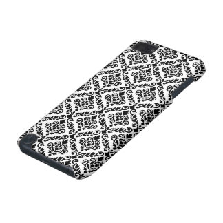 Prima Damask Pattern Black on White iPod Touch (5th Generation) Case