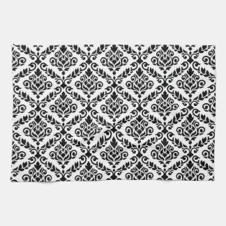 Prima Damask Pattern Black on White Kitchen Towels