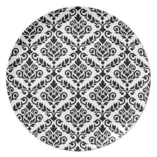 Prima Damask Pattern Black on White Party Plate