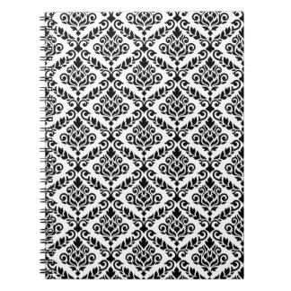 Prima Damask Pattern Black on White Spiral Note Book