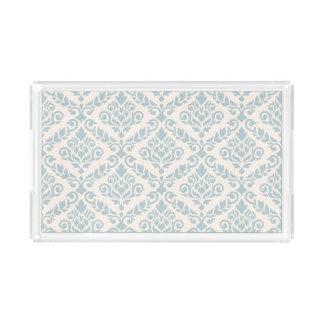 Prima Damask Pattern Blue on Cream Acrylic Tray