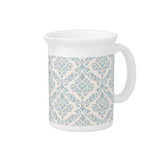 Prima Damask Pattern Blue on Cream Drink Pitchers