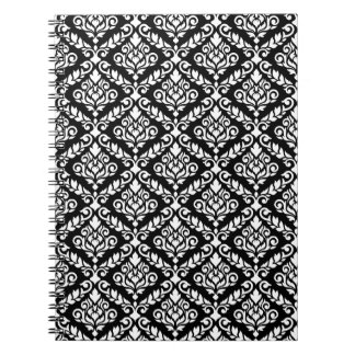 Prima Damask Pattern White on Black Note Books