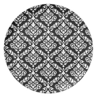 Prima Damask Pattern White on Black Party Plate