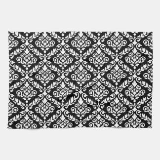 Prima Damask Pattern White on Black Tea Towels