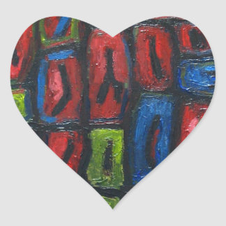 Primary Color Abstract Prison Cells Heart Sticker