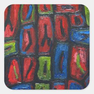 Primary Color Abstract Prison Cells Square Sticker
