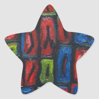 Primary Color Abstract Prison Cells Star Sticker