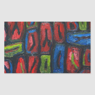 Primary Color Abstract Prison Cells Rectangular Sticker