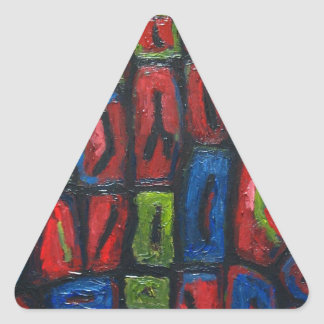 Primary Color Abstract Prison Cells Triangle Sticker