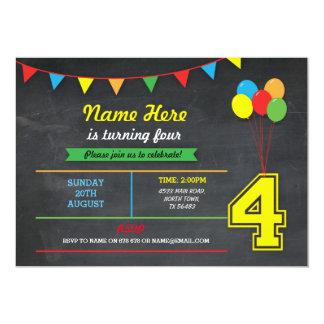 Primary Color Birthday Girls Boys 4th Four Invite