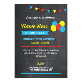 Primary Color Birthday Girls Boys Colour Invite