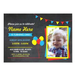 Primary Color Birthday Girls Boys Photo Invite
