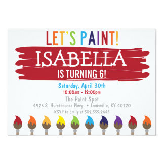 Primary Color Painting Birthday Party Invitation