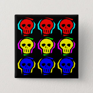 Primary Color Skulls 15 Cm Square Badge