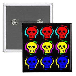 Primary Color Skulls 15 Cm Square Badge
