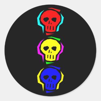 Primary Color Skulls Round Sticker