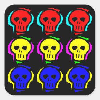 Primary Color Skulls Square Sticker