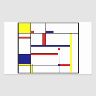 Primary Colors and Shapes Rectangular Sticker