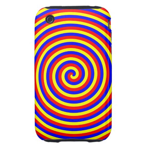 Primary Colors. Bright and Colorful Spiral. iPhone 3 Tough Case