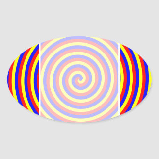 Primary Colors. Bright and Colorful Spiral. Oval Sticker