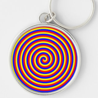 Primary Colors. Bright and Colorful Spiral. Silver-Colored Round Key Ring