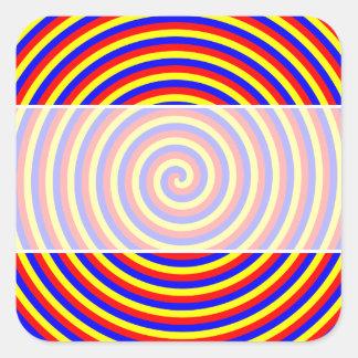 Primary Colors. Bright and Colorful Spiral. Square Sticker