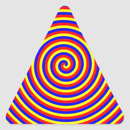 Primary Colors. Bright and Colorful Spiral. Triangle Sticker