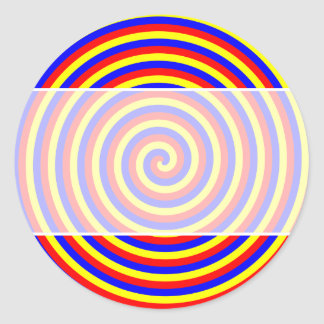 Primary Colors. Bright and Colorful Spiral. Round Sticker