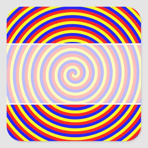 Primary Colors. Bright and Colorful Spiral. Square Sticker