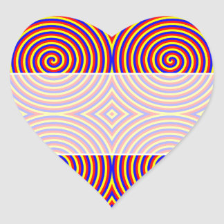 Primary Colors. Bright and Colorful Spirals. Heart Sticker
