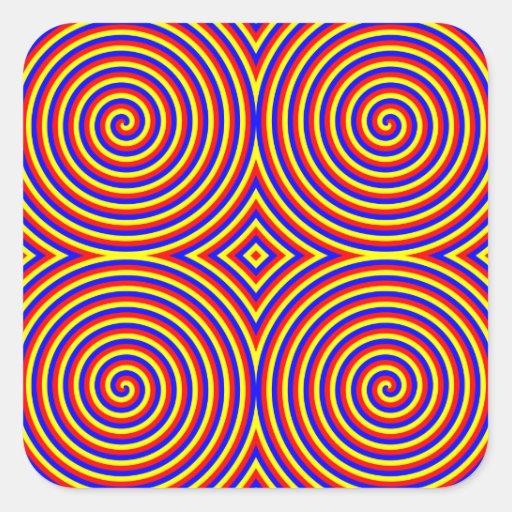 Primary Colors. Bright and Colorful Spirals. Square Sticker