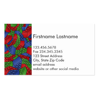 Primary Colors Building Blocks Pattern Business Card Template