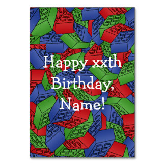 Primary Colors Building Blocks Pattern Table Card