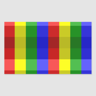 Primary Colors Checks Rectangle Stickers