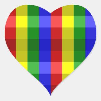 Primary Colors Checks Heart Sticker