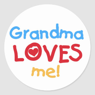 Primary Colors  Grandma Loves Me T-shirts Sticker