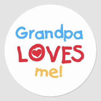 Primary Colors  Grandpa Loves Me Tshirts Round Sticker