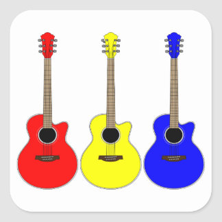 Primary Colors Guitars Vector Pop Art Design Square Sticker