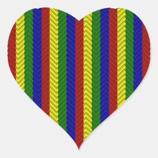 Primary Colors Herringbone Heart Sticker