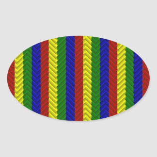 Primary Colors Herringbone Oval Stickers
