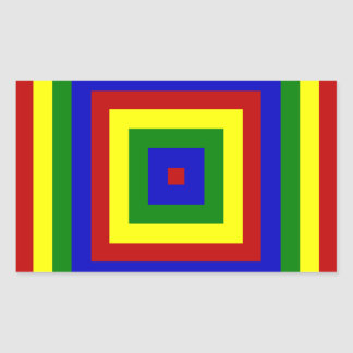 Primary Colors Layered Squares Rectangular Stickers