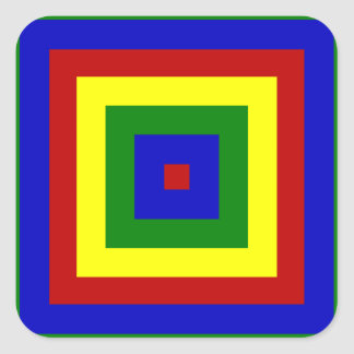 Primary Colors Layered Squares Square Stickers