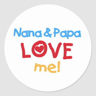 Primary Colors Nana and Papa Love Me Classic Round Sticker