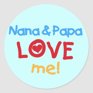 Primary Colors Nana and Papa Love Me Round Sticker